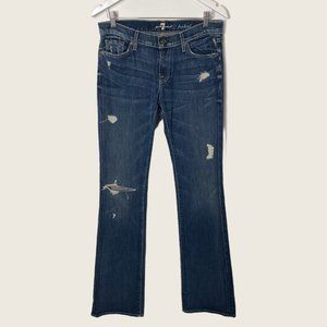 """7 For All Mankind Bootcut Destroyed Jeans 35"""" Inseam"""